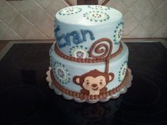 Blue Monkey Baby Shower Cake By Kdfcooper on CakeCentral.com