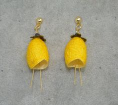 A unique gift idea for a smart and sophisticated look.Very light,bright color natural look. Yellow Earrings, Drop Earrings, Unique Gifts, Handmade Gifts, Flower Jewelry, Handmade Flowers, Natural Looks, Bright, Silk