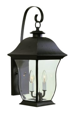 Outdoor lighting with a new curvy design for a fresh contemporary look. Weather resistant brass. Finish: Black Height: 21.5'' Width: 9.25'' Depth: 11.25'' Bulb: 2-Candelabra - E12 Wattage: 60