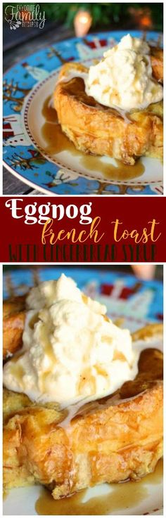 This Eggnog French Toast with Gingerbread Syrup is my new favorite Christmas breakfast. Get a taste of Christmas in every gooey, delicious bite! via @favfamilyrecipz