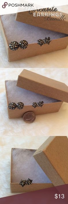 ❣| marcasite earrings BUNDLE | Genuine Marcasite & .925 Sterling Silver Small Earring Bundle. These come in a Mini Button Style & Stars. Super cute if you have Multiple Piercings.                                                                                                        ➖PRICE FIRM ((unless bundled))➖ Jewelry Earrings