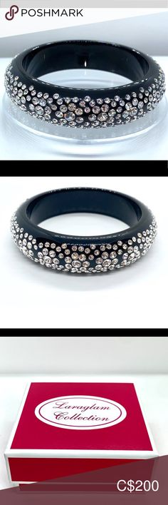Swarovski crystal acrylic bangle black Swarovski® crystal acrylic bangle in black.  Hand crafted to perfection on black acrylic, while perfectly embellished with Swarovski® Crystal elements. This amazing bangle is super fun and easy to wear from day into evening. Show off your look this season with this stunning Swarovski® crystal bangle.  Comes shipped with luxury gift box www.laraglam.com Jewelry Bracelets