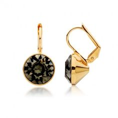 Bella Drop Earrings with Black Diamond Swarovski® Crystals Gold Plated