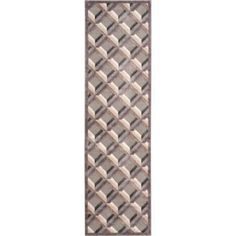 Nourison Graphic Illusions Squares Runner Rug 2'3 inch x 8', Gray