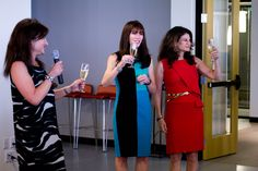 CEO Lori Bush toasts in celebration of our new Home Office digs with Dr. Katie Rodan and Dr. Kathy Fields.
