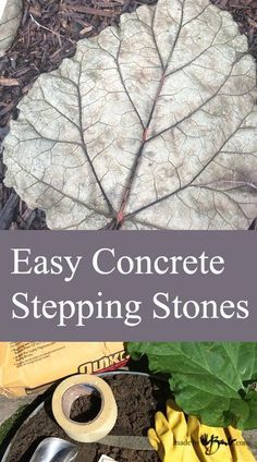 DIY Easy Concrete Stepping Stones - How to make simple stepping stones that are cast from leaves using a premixed concrete mix. diy garden stepping stones Easy Concrete Stepping Stones - Step by step simple detailed instructions with pictures Cement Patio, Concrete Garden, Concrete Planters, Diy Concrete Mold, Stepping Stone Pathway, Concrete Stepping Stones, Decorative Stepping Stones, Stepping Stones For Garden, Homemade Stepping Stones