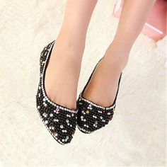 Flats Shoes | Sexy Black PU Beads Round Closed Toe Low Heel Flats - Hugshoes.com