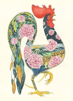Image of Rooster with Geraniums - Card