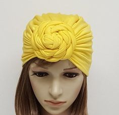 Yellow turban, top knot turban for women, front knotted turban hat, rosette turban, donut turban, viscose jersey turban Turban Hat, Head Accessories, Top Knot, Rosettes, Head Wraps, Hats For Women, Yellow, How To Wear, Fashion