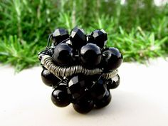 Black Goth Ring /Wire Wrapped Ring/Black Statement by Nimmet, €16.50