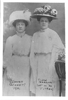 Alice Bennett(left) & her cousin, Margaret(right), had planned to travel on Titanic together, but only Margaret could afford to. Alice's father refused her his money so Margaret went alone. She died on Titanic.