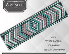 Peyote bracelet pattern, peyote pattern, stitch pattern, pdf file, pdf pattern, #003P