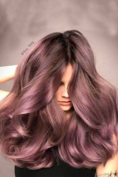 Guy Tang Hair Color is finally here my I created this Dusty Lavender hair color I gave Megan. Balayage Brunette, Hair Color Balayage, Brunette Hair, Hair Highlights, Ombre Hair, Lavender Highlights, Color Highlights, Lavender Hair Colors, Lilac Hair