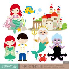 Princess Mermaid Digital Clipart by LittleMoss on Etsy