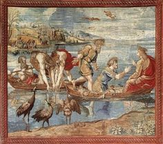 The Miraculous Draught of Fishes. Tapestry. Vatican Museum, c. 1516 This artwork is in reference to John 21: 1-14.  The Apostles failed attempt of gathering their food, until Christ appeared.  One boat now is over flowing with fish, while the other continues to pull in the nets abundantly full.  Michelangelo had completed his work on the ceilings in 1512, and Raphael's work followed.  He  cared for the colors, he knew his work would be compared to the ceiling which Michelangelo had painted.