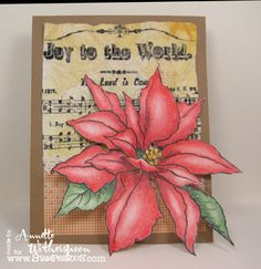 @Annette Witherspoon stamped this beautiful #Christmas Card using #Stampendous Jumbo #Poinsettia available @Michaels Stores