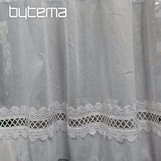 Krátké vitrážové záclony | Bytema Curtains, Shower, Bathroom, Prints, Design, Rain Shower Heads, Washroom, Blinds, Showers