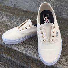 vans | studded slip ons Worn a few times. No major flaws in these shoes. They are cream with gold studs. Size 7.5 women Vans Shoes Sneakers