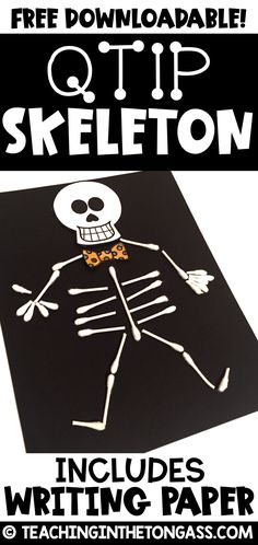 Qtip Skeleton Craft Template Create a quick and easy Halloween craft for kids with this Qtip skeleton craft template and skeleton writing prompt Quick Halloween Crafts, Mummy Crafts, Halloween Crafts For Toddlers, Halloween Class Party, Fall Crafts For Kids, Halloween Kostüm, Thanksgiving Crafts, Qtip Skeleton, Skeleton For Kids