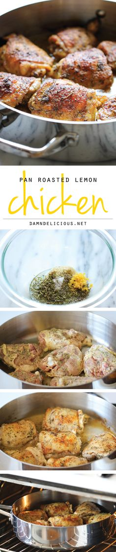 Damn Delicious: Pan Roasted Lemon Chicken - These chicken thighs are amazingly crisp and flavorful, and you won't believe how easy this is to make! I Love Food, Good Food, Yummy Food, Get Thin, Cooking Recipes, Healthy Recipes, Delicious Recipes, Easy Recipes, Lemon Chicken