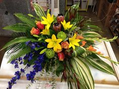 fall standing spray - Yahoo Image Search Results Funeral Floral Arrangements, Church Flower Arrangements, Flower Centerpieces, Funeral Bouquet, Funeral Flowers, Casket Flowers, Funeral Sprays, Casket Sprays, Cemetery Decorations