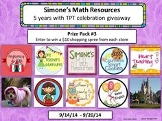 Giveaway of Prize Pack 3 from Simone's Math Resources--Sept. 14-20, 2014. Enter to win some free teacher resources from TPT--primarily for upper elementary and middle grades (4th to 8th grade).