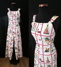 Adorable 1940's Cotton Novelty Print Overalls by wearitagain, $195.00
