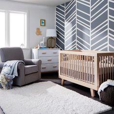 Gray Chevron Nursery Collection- shows more content Grey Chevron Nursery, Grey Crib, White Nursery, Nursery Neutral, Nursery Room, Gray Chevron, Nursery Ideas, Neutral Nurseries, Accent Wall Nursery