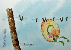 Sunbonnet on Country Clothesline Watercolor Painting by RoseAnn Hayes, ACEO prints available in Etsy shop