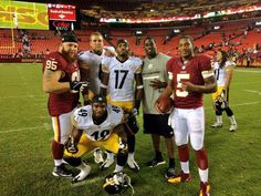 WVU Alumni  Pat White and Chris Neild of the Redskins joined Pittsburgh's Will Johnson, Terence Garvin, J.D. Woods and Joe Madsen.