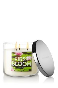 First Bloom 3-Wick Candle - Decorate any room in your home with a delicate blend dewy pear, peony petals and water lotus with sweet apple blossom. <3  #LUVBBW