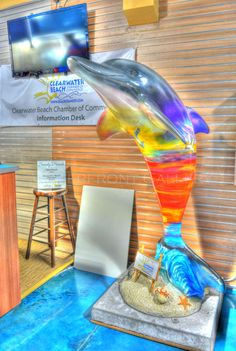 Sandee Beach dolphin greets visitors at the Clearwater Beach Chamber Welcome Center, 315 So. Gulfview, #Clearwater Beach.  Artist:  Silas Beach