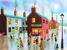 fish and chips shop street scene painting oil canvas Gordon Bruce new art
