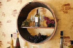 Three things to do with a wine barrel: Shelf, Coffee Table, and Wall Hanging
