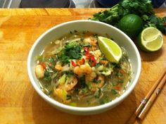 Pho (pronounced 'fuh') is the umbrella term for Vietnamese noodle soup. Although usually made with beef, this version uses prawns and packs a spicy punch!