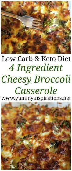 Keto Broccoli Casserole Recipe - Easy low carb broccoli bake recipes - great idea for dinner or a Ketogenic Diet friendly side dish. Loaded with cheese and only 4 ingredients. #KetoDieting