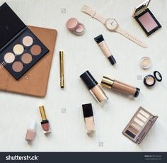 Collection Of Different Professional Make Up Products On Textile Background Top View. Make Up Set Studio Shot.Woman Fashion Accessories. Autumn Nude Brown And Beige Mood Stock Photo 487162342 : Shutterstock