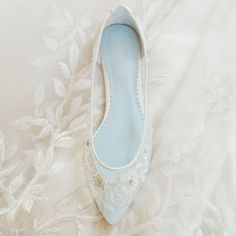 Romantic mesh flats with floral beading wedding shoes