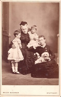 Grand Duchess Vera Konstantinovna, Duchess of Wuerttemberg with her mother-in-law and twin daughters.