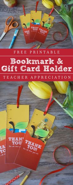Teacher Appreciation Week Ideas --> Free Printable Bookmark & Gift Card Holder Teacher Appreciation - From The Caterpillar Years :: @thecaterpiyears :: Made For Yellow Bliss Road :: @yellowblissroad :: | Young Masters Art