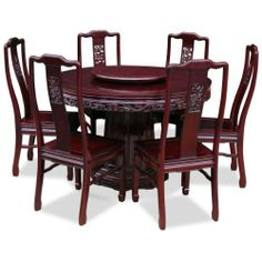 Round Dining Table For 6 With Lazy Susan 48in rosewood flower and bird motif round dining table with 6