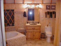 yurt living doesn't have to be primitive - lovely bathroom