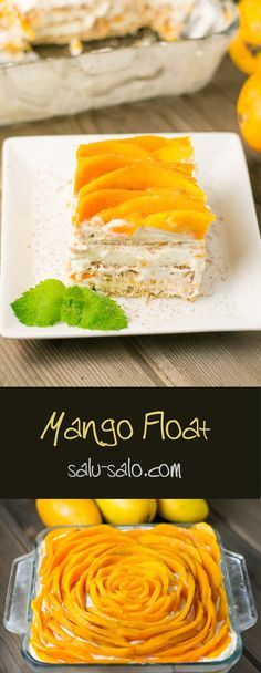 This mango float recipe uses fresh ripe mangoes. Graham crackers are layered along with whipped cream to give this delicious dessert a cake-like texture. Pinoy Dessert, Filipino Desserts, Asian Desserts, Filipino Recipes, Filipino Food, Mango Desserts, Filipino Dishes, Eid Recipes, Tropical Desserts