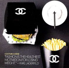 Chanel Takeover Mcdonalds as Fashion Capitol of the WORLD. Coco Chanel Burger and Fries. I want all my fast food meals to have this packaging lolCoco Chanel Burger and Fries. I want all my fast food meals to have this packaging lol Burger Bar, Burger And Fries, Burgers, Burger Menu, Mcdonalds, Fast Food Logos, Logo Food, Karl Lagerfeld, Chanel Couture