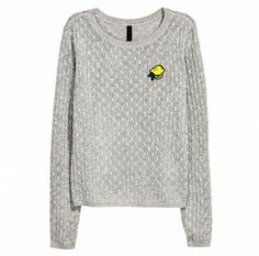 Lemon embroidered sweater gray cable knit sweaters for women