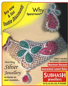 Matching silver jewellery to dazzle on your ‪#‎occasion‬.... Subhash jewellers Scf 32, sector 8.b, (inner market) ‪#‎chandigarh‬, india .http://bit.ly/1b2SLQt