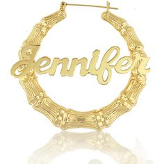 Celebrity Style Bamboo Name Earrings (order any name) - 24k Yellow Gold Overlay