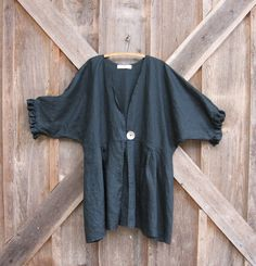 linen jacket coat top in black by linenclothing on Etsy, nice cover up for summer
