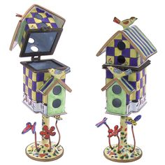 Blue Checkered Birdhouse Spice Box Product - The Jewish Museum Shops