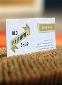 Ptarmak, business card for Old Faithful Shop (nice letterpress) Letterpress Business Cards, Business Branding, Business Card Design, Creative Business, Corporate Design, Typography Design, Lettering, Bussiness Card, Graphic Projects